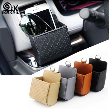 Car Storage Bag Air Vent Leather Organizer Box Glasses for Peugeot Jeep Harley-Davidson Buick Bentley Scania 6008 301 408 image