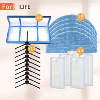 Robot Vacuum Cleaner parts kit for chuwi ilife V5SPRO V50 V5S plus main brush side brush dust hepa filter mop cloth accessories chuwi ilife v7 v7s v7spro v7s plus robotic vacuum cleaner parts kit main brush side brush dust hepa filter mop cloth accessories