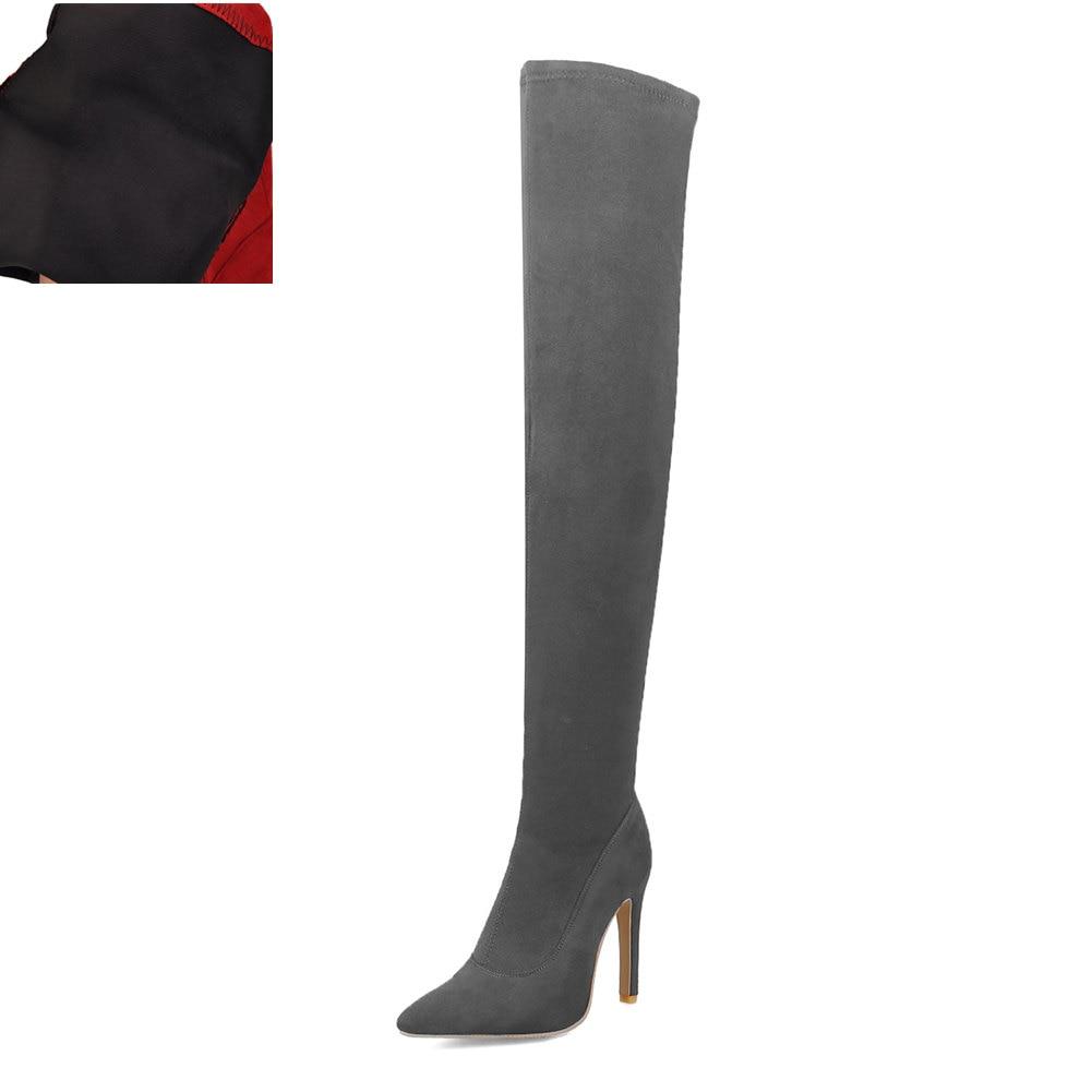 Новая Брендовая женская обувь женские ботфорты выше колена, большие размеры 32-48 пикантные вечерние сапоги на тонком высоком каблуке Женская обувь - Цвет: Gray without plush