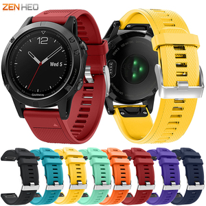 Image 1 - Silicone Bracelet Strap For Garmin Fenix 5/5 Plus Quick Release Easy Fit Watchband For Garmin Forerunner 935 945 Watch Band
