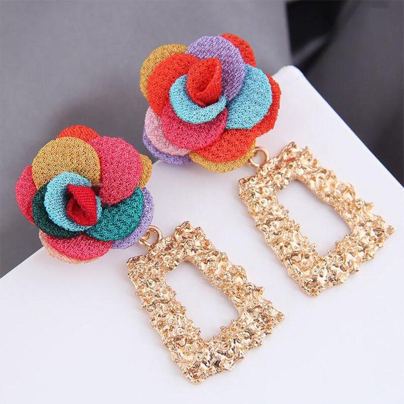 LATS New Bohemian Vintage Cloth Flower Drop Earrings for Women Tassel Dangle Earring Geometric Long Big Earings Fashion Jewelry