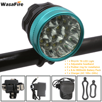 25000lm 15* XML T6 LED Bicycle Light Headlight Cycling Front Handlebar Ligths Lamps + 9600mah Battery Pack + Charger + Headband|Bicycle Light|Sports & Entertainment -