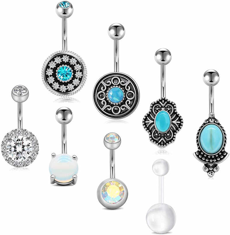 White Opal Round Tribal Belly Button Rings Belly Button Jewelry