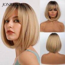 Jonrenau curto reta escuro raiz ombre loira perucas sintéticas com franja para as mulheres bob peruca resistente ao calor lolita cosplay peruca