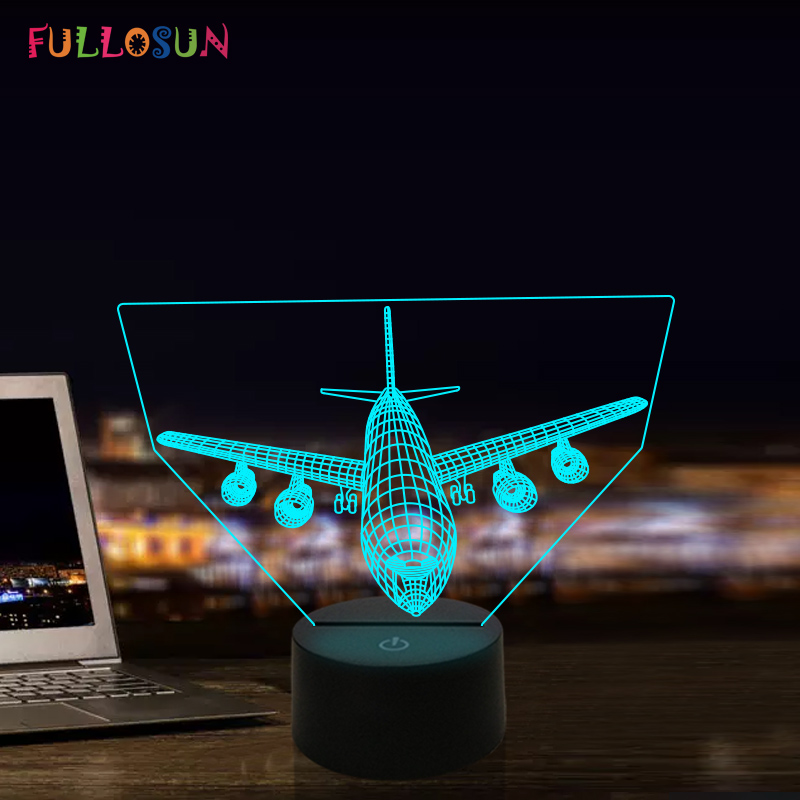 Airplane Model 3D LED Lamp Touch Button Aircraft Lights Colorful Children Kids Gift image