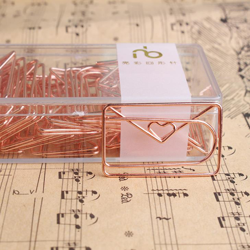20 Pcs/pack Cute Rose Gold Love Heart Envelope Paper Clips Metal Hollow Photo Memo Clip Bookmark Stationery Gifts