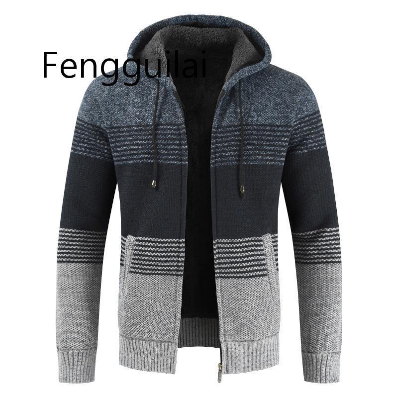 FASHION Sweater Coat Men 2020 Winter Thick Warm Hooded Cardigan Jumpers  Men Striped Cashmere Wool Liner Zipper Fleece Coats Men