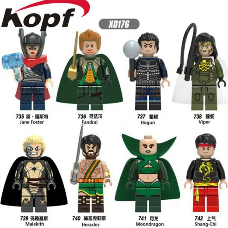 KOPF Single Sale Jane Foster Fandral Viper Shang-Chi Moondragon Super Heroes Building Blocks Bricks DIY Toys For Baby Kids X0176