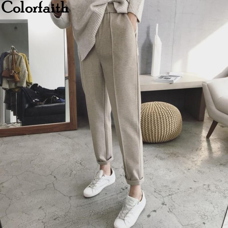 Colorfaith New 2021 Winter Spring Women Pant High Waist Pocket Korean Minimalist Style Fashion Ankle Length Casual Pants P936|Pants & Capris| - AliExpress