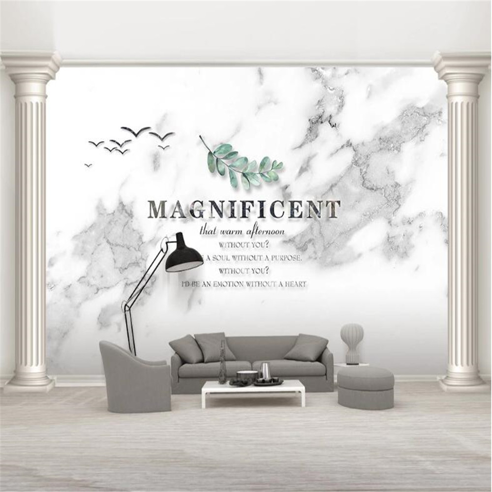 Milofi European creative English natural jazz white marble pattern background wall decoration painting