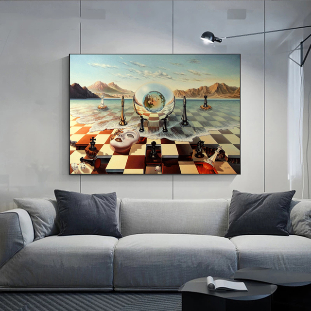 Salvador Dali Abstract Weird Canvas Painting Surrealism Chess Mask On Sea Poster Print Wall Art for Living Room Wall Decoration 4