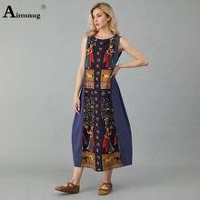 Женское винтажное платье без рукавов свободное Повседневное