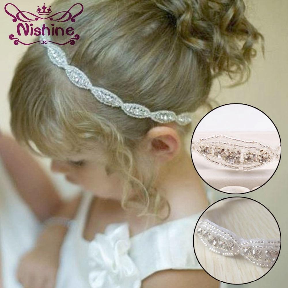 Nishine belles filles princesse fleur bandeau enfants enfants strass bandeau serre-tête élastique bandeau cheveux accessoires cadeaux