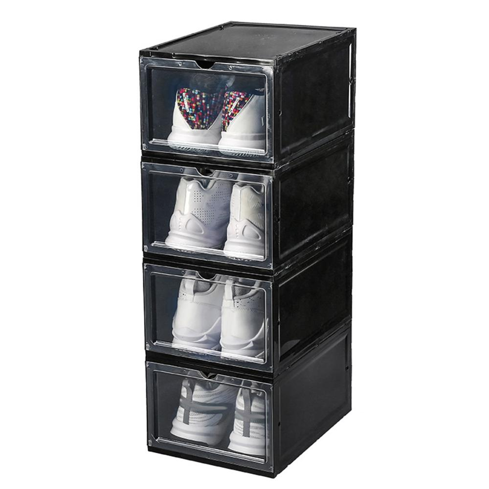 Hot Clamshell Stackable Dustproof Shoes Storage Container Display Box Organizer