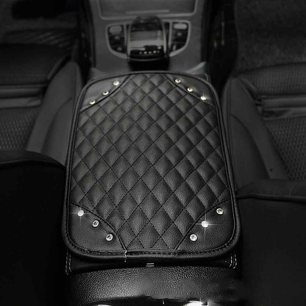 Zwarte Auto Centrale Armsteun Doos Kussen Met Strass Duurzaam En Slijtvast Hoogwaardige Synthetische Leer
