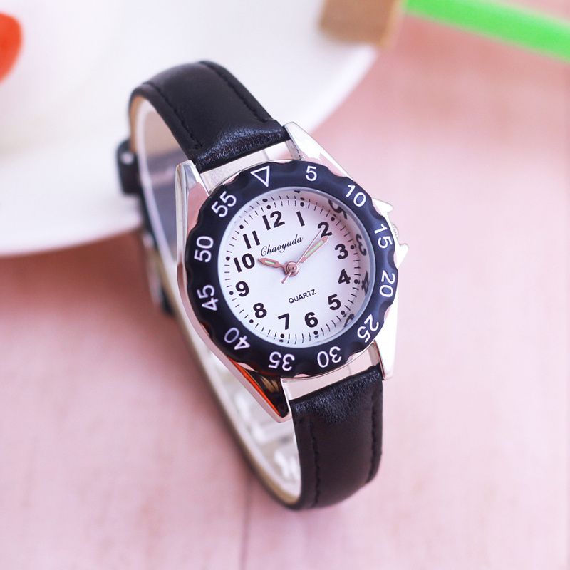Chaoyada Children Boys Girls Colorful Leather Electronic Wristwatches Little Kids Waterproof Quartz Learn Time Watches Clock