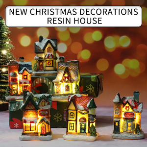 Mini House Furniture doll house LED House Decorate light with Resin Miniature house home decoration Christmas gifts
