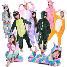 Детские зимние фланелевые пижамы детские панды динозавр единорог