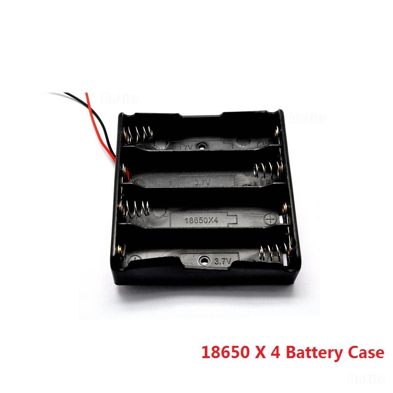 Black <font><b>4x</b></font> <font><b>18650</b></font> 3.7V <font><b>Battery</b></font> Storage Box Case 4 Slots Way DIY Mobile Lithium <font><b>Batteries</b></font> Power Bank <font><b>Holder</b></font> Container With Wire Lead image