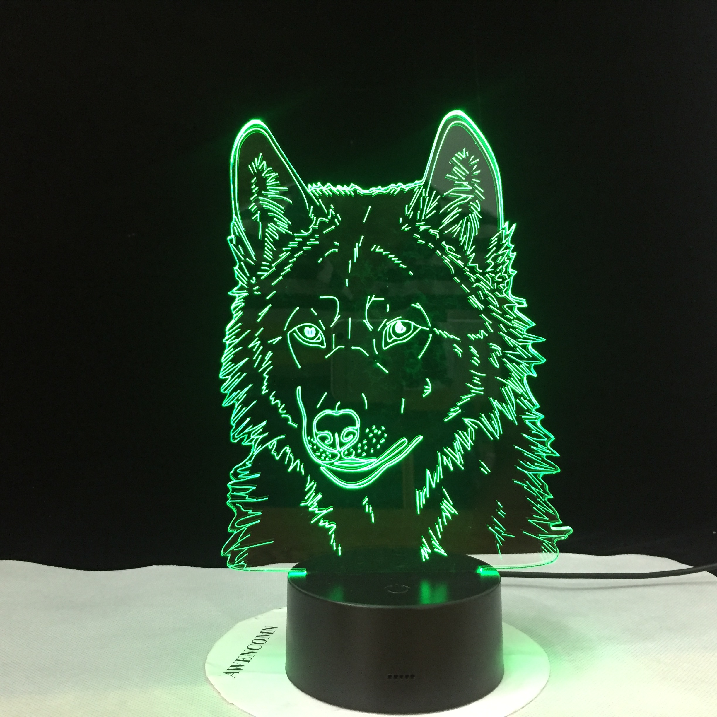 Wolf 3D Table Lamps For Bedroom Animal Model Stereo Vision Acrylic Touch Remote Control USB Led Lightings