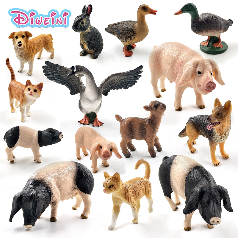 Small Pig Cat Wolf Dog Rabbit Goat Sheep Duck Goose Piglet Action Figure Farm Toys Plastic Animal Model Christmas Gift For Kids