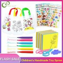68 шт., Детская сумка с граффити, Мультяшные наклейки, цветная бумага, складные и режущие игрушки для рисования, Детские художественные ремесла, развивающий подарок ZXH