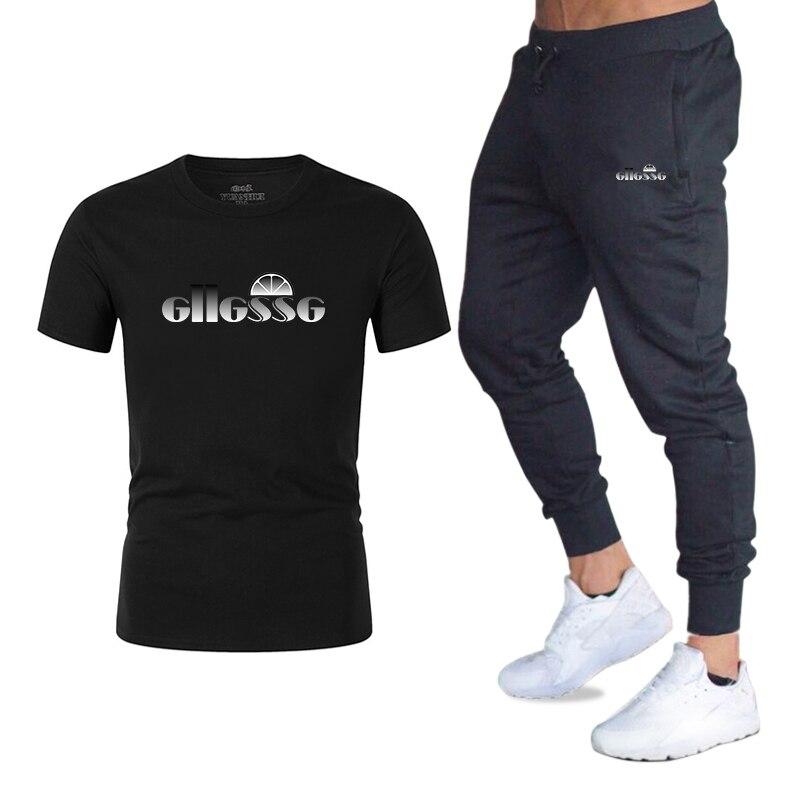 Summer Men's T-shirt Casual Suits Sportswear Mens Clothing Sets Short Pants Male Sweatshirt Boy Fashion Tracksuit Clothing 2XL