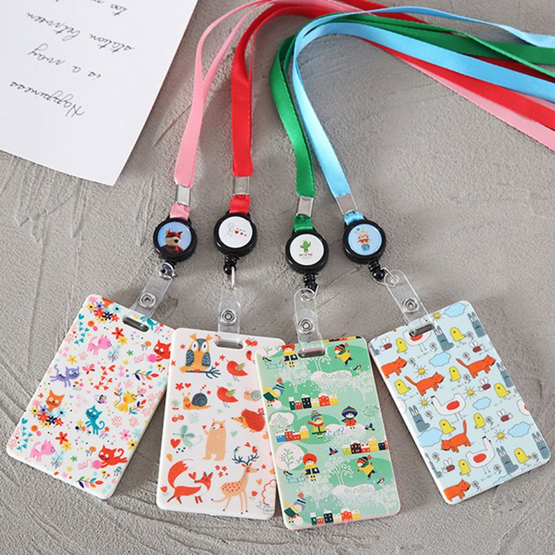 Cute Plastic Work ID Bus Card Badge Case Wallet Holder Cover With Neck Lanyard