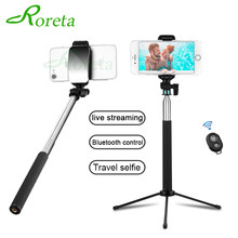 Roreta Wireless Bluetooth Selfie Stick Handheld Monopod With Mirror Shutter Remote Extendable Mini Tripod For iPhone Samsung(China)