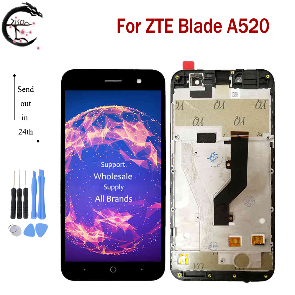 "5.0"" LCD With Frame For ZTE Blade A520 Full LCD Display Touch Sensor Screen Digitizer Sensor Assembly For ZTE A520 A 520 Display(China)"