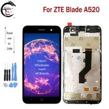 """5.0 """"LCD ile çerçeve için çerçeve ile ZTE Blade A520 tam dokunmatik LCD ekran sensörü ekran Digitizer sensörü meclisi ZTE A520 A 520 ekran"""