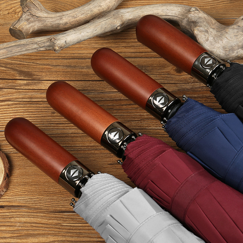 Germany Storm Solid Wood Three Fold Fully Automatic Umbrella 10 Bone From The Open Close Retro All-Weather Umbrella Advertising