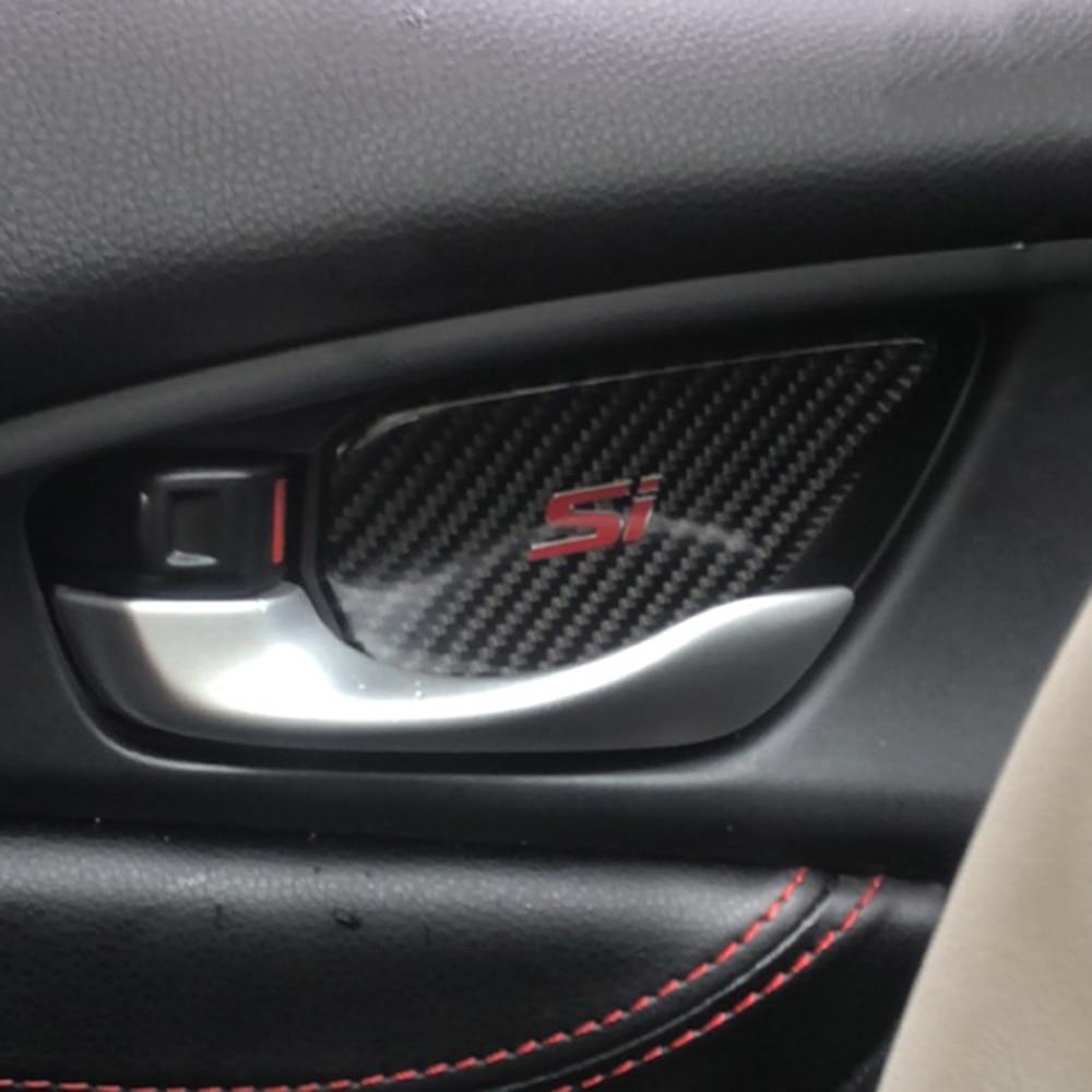 Honda Civic Carbon Fiber Steering Wheel Trim Sticker For Si 2016 H02 10th Gen