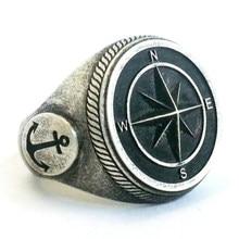 Pirate compass padrão anel do punk da marinha do vintage viking anéis bússola anel para homens cavaleiro jóias acessórios descontos