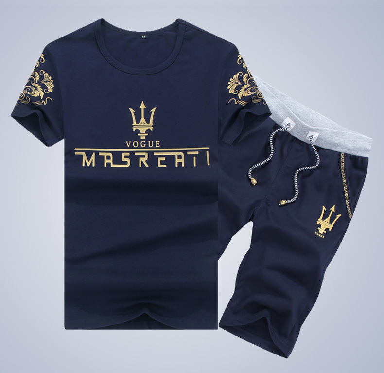 MEN'S Short-sleeved T-shirt Maserati Set Summer Crew Neck Solid Color T-shirt 5 Pants Casual Fashion Youth Sports Clothing