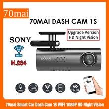 70mai inteligentna kamera do deski rozdzielczej samochodu 1S WiFi 1080P HD wideorejestrator z kamerą noktowizyjną 130 stopni Auto rejestrator jazdy g sensor sterowanie głosem