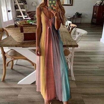 2020 Summer New Fashion Women's Slim Flower Printed Halter Dress Sleeveless Plus Size V-neck Maxi Dress women fashion long print side split halter neck sleeveless drawstring maxi plus size ankle length natural dress