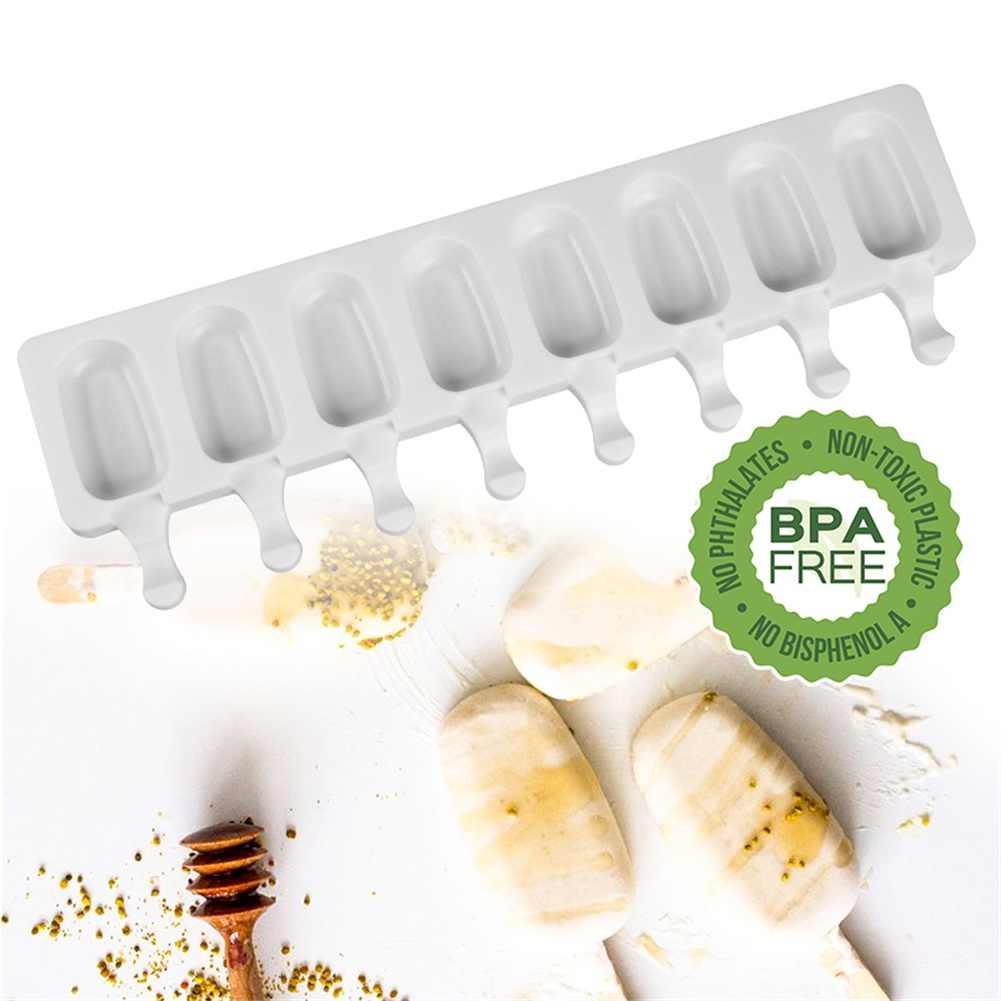 Novo 8 cavidade ice cream molde bandeja com gelo picolé fabricantes de bandeja de silicone material grosso diy moldes de cubo de gelo moldes de sobremesa moldes