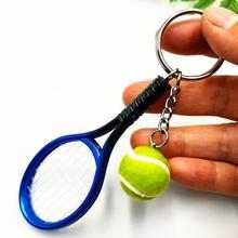 Моделирование мини теннис ракетка мяч брелок подвеска сумка брелок кольцо аксессуары