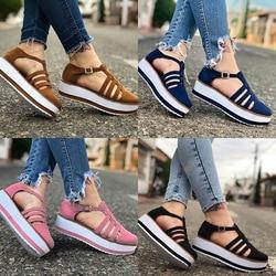 2020 new women summer sandals fashion buckle strap solid fringe cover heel flat platform heel casual ladies plus size sandals