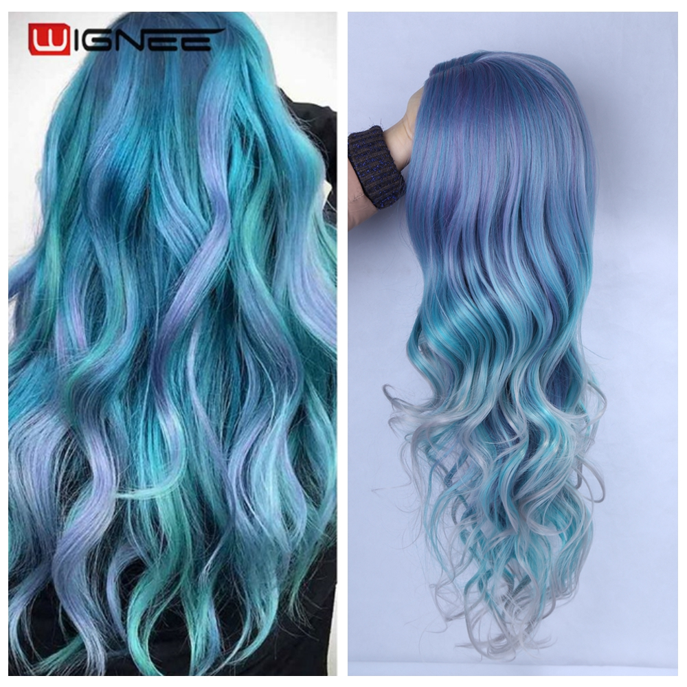 Wignee longo ondulado perucas sintéticas resistente ao calor médio parte mix azul cosplay cabelo para mulheres africano americano natural festa perucas