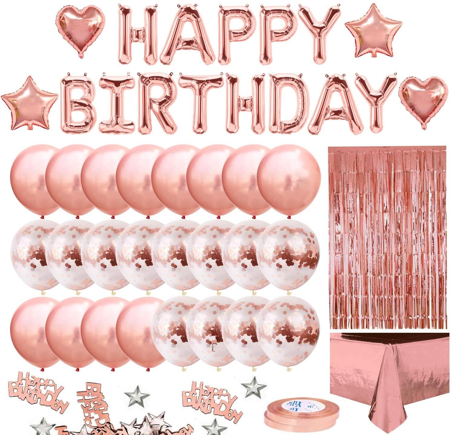 На день рождения, вечерние украшения для девушек и женщин с днем рождения баннер, розовый золотой с бахромой шторы фольга скатерть, сердце, з...
