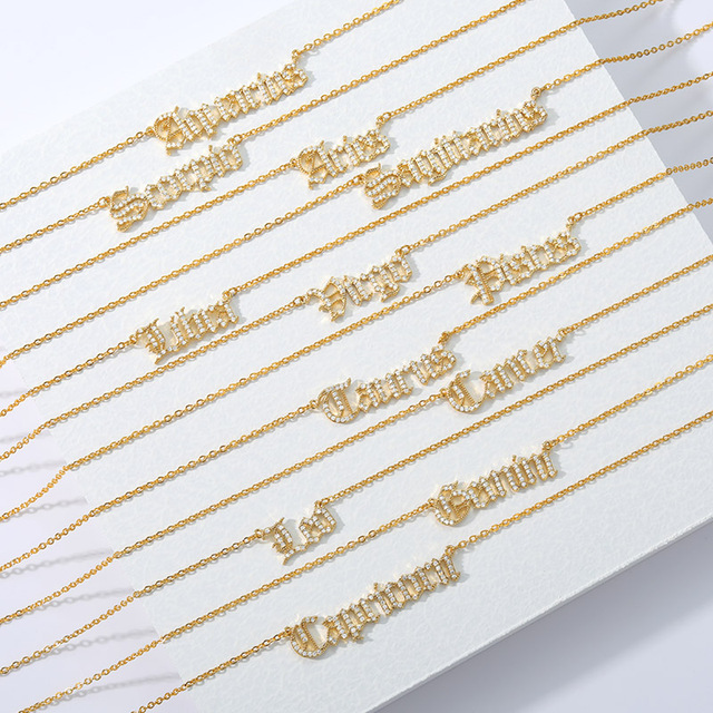 Zircon Zodiac Necklace For Women 12 Constellation Crystal English Letter Jewelry Gold Chain Choker Necklace Bijoux Femme Collar 5
