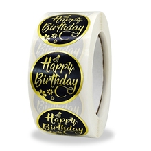 Happy-Birthday-Stickers Tag-Decor Cake Bakery Candy Party Golden 500pcs Gift-Box 1inch-Light