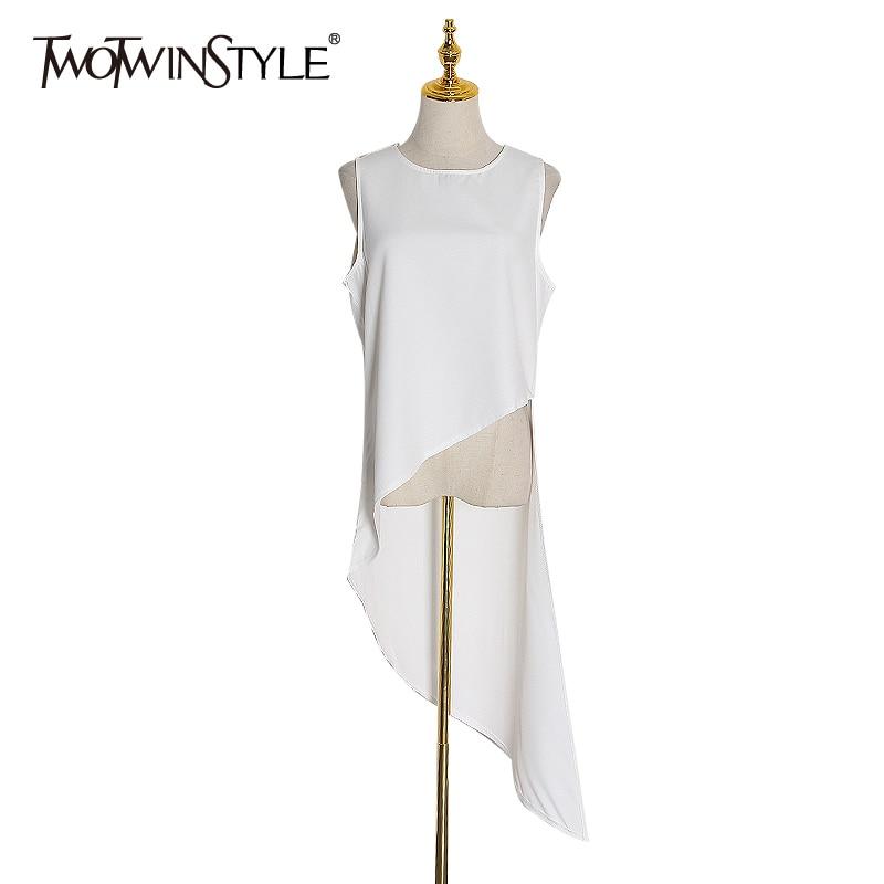 TWOTWINSTYLE Casual Chiffon Irregular Shirt Women O Neck Sleeveless Loose Asymmetrical Blouses Female Fashion Clothing 2020 Tide