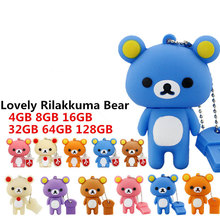 New Pen drive Lovely Rilakkuma Bear 128GB 64GB USB Flash Drive 32GB 16GB Pendrive 8GB 4GB waterproof flash memory stick Gifts