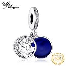 JewelryPalace синий Луна Звезда 925 стерлингового серебра прелести бисера оригинальный браслет оригинальных ювелирных изделий