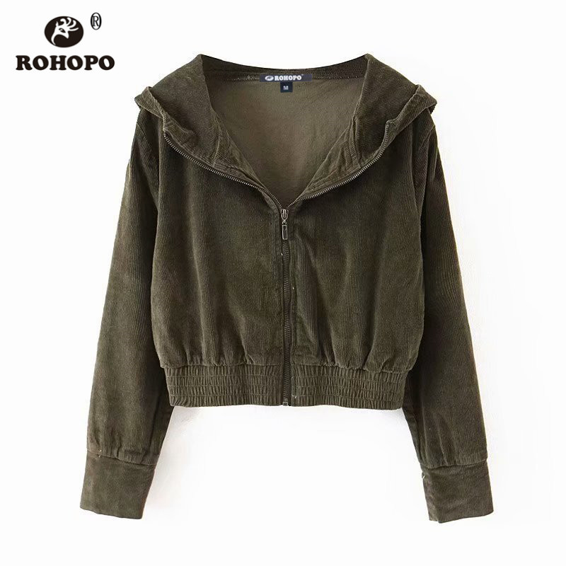 ROHOPO Autumn Women Army Green Hooded Corduroy Cotton   Basic     Jacket   Trimmed Waist #61017