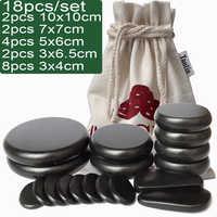 18pcs/set Hot Massage Energy Body Basalt Stone set Beauty Salon SPA with Thick Canvas healthcare back pain relieve massage set