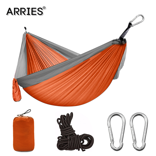 Nylon Double Person Hammock Adult Camping Outdoor Backpacking Travel Survival Garden Swing Hunting Sleeping Bed Portable Hammock 1